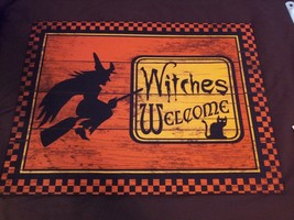 Welcome Witches Black Cat Orange/Black Halloween Kitchen Doormat  - $24.99