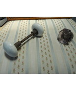Vintage Doorknob  set, White porcelain - $14.99