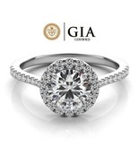 1.25 Carat GIA Certified Solitaire Halo Style Engagement Ring in 14K Whi... - $2,595.00