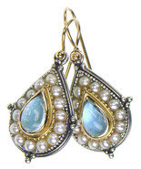 Gerochristo 1196 - Gold, Silver, Aquamarine & Pearls Medieval-Byzantine Earrings - $1,030.00