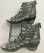Jambu Sandals Gladiator Metallic Silver Brookline Sports Wedge Design Wo... - $41.21