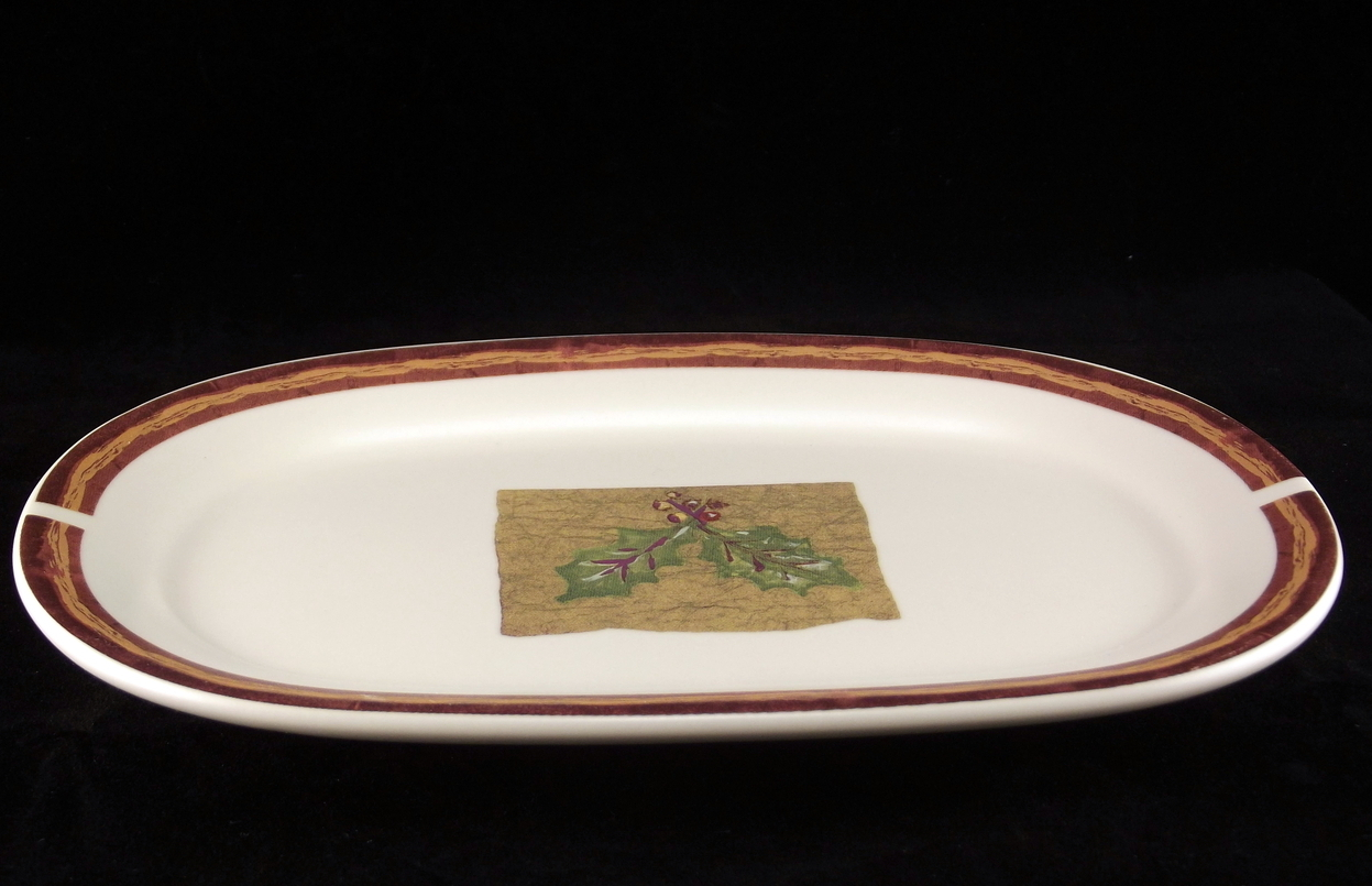 Pfaltzgraff Holiday Spice stoneware relish pickle dish 8.5 inch oval