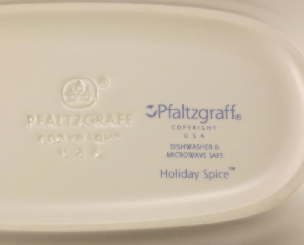 Pfaltzgraff Holiday Spice stoneware relish pickle dish 8.5 inch oval