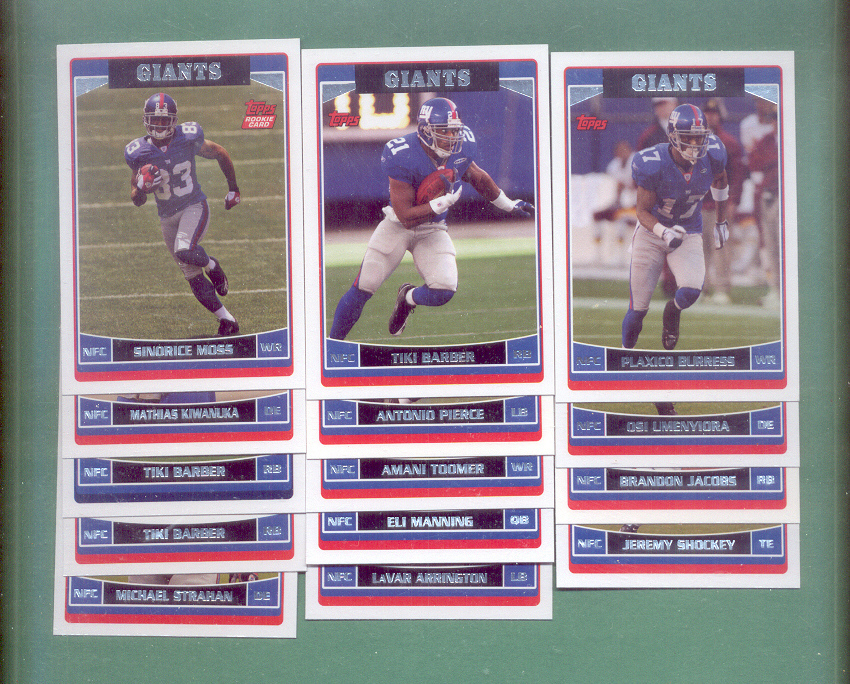2006 Topps New York Giants Football Team Set