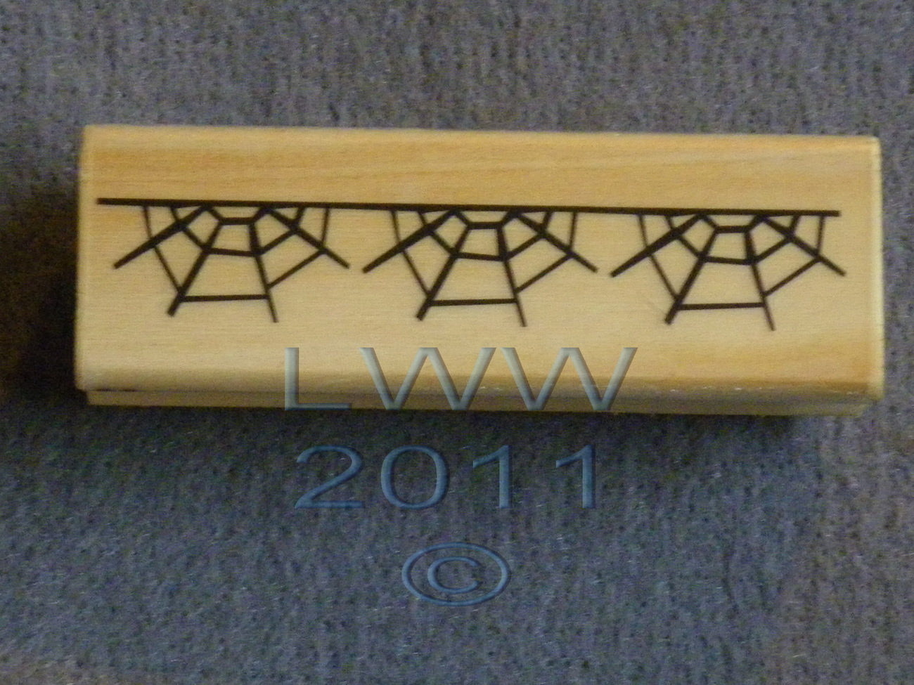 Wood-mounted Halloween Spider Web Rubber Stamp Scrap-booking