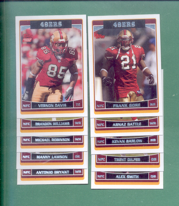2006 Topps San Francisco 49ers Football Team Set