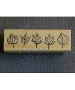 Wood-mounted Autumn Leaf Leaves Rubber Stamp Scrapbooking - $3.95