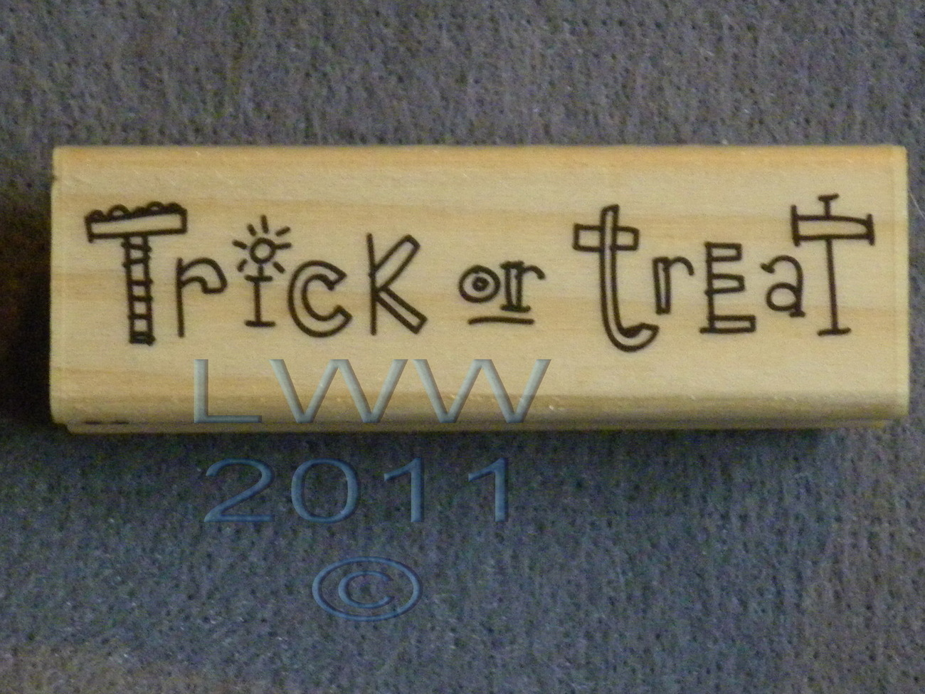 Wood-mounted Halloween Trick or Treat Rubber Stamp Scrapbooking