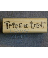Wood-mounted Halloween Trick or Treat Rubber Stamp Scrapbooking - $3.95