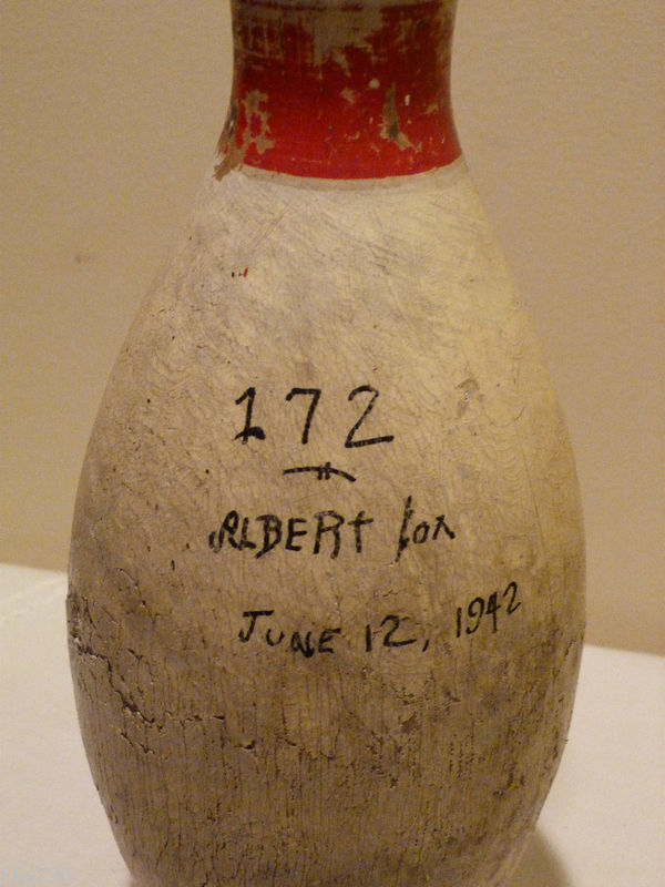 Antique Wooden Bowling Pin 1942