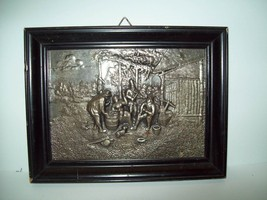 Bas Relief Pewter Picture in Black Frame - $9.99