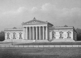 GERMANY Glyptothek Museum Munich - 1860 SCARCE Engraving Print - $16.83