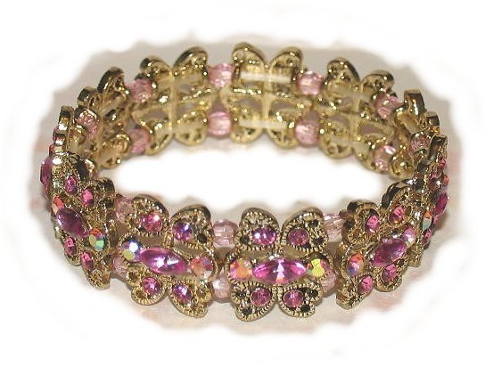 Love Hearts Bracelet Vintage-look Rose Crystals Bangle New