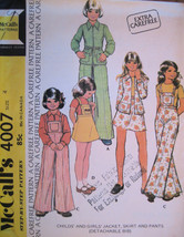 Vintage 70s Sewing Pattern Unused Girls 4 Jacket Skirt Pants - $8.95