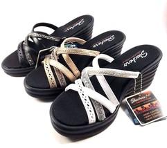 Skechers 31777 Memory Foam Wedge Platform Strappy Slip On Sandal Choose ... - £31.00 GBP