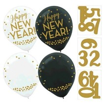 "Customize Happy New Year! 12  Black White Helium Quality 12"" Latex Balloons - $7.99"