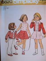 Vintage 70s Sewing Pattern Unused Girls 4 Dress Jacket S6820 - $9.95
