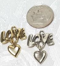 LOVE WORD W/ DANGLE HEART FINE PEWTER PENDANT CHARM - 2mm L x 22mm W x 17mm D image 2