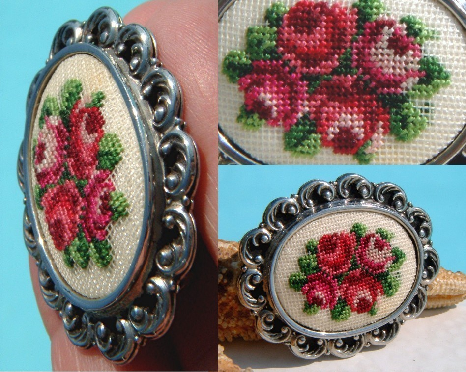Vintage Needlepoint Embroidered Brooch Pin Petit Point Roses Flowers