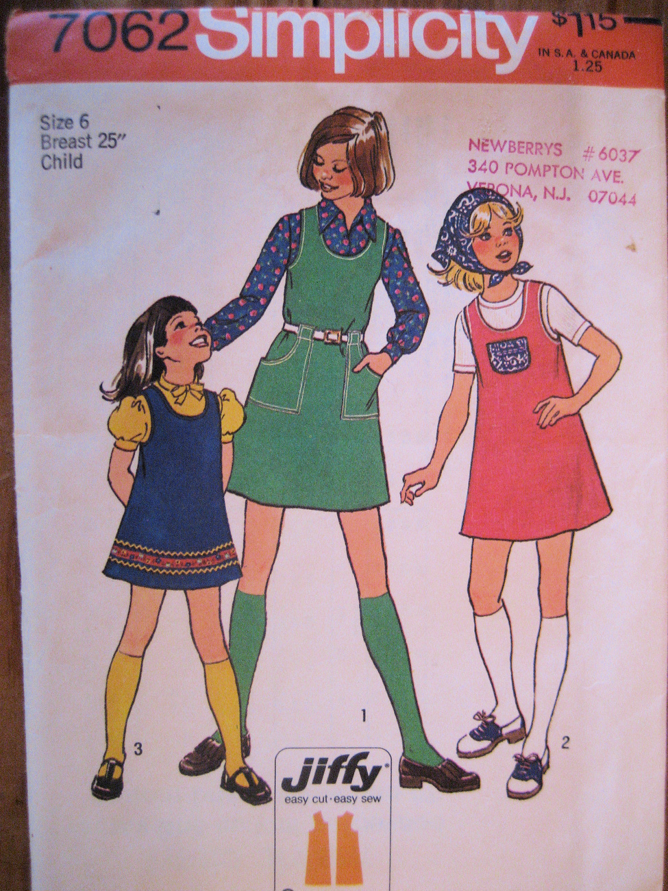 Primary image for Vintage Simplicity 7062 Girls Size 6 Jiffy Dress and Scarf Sewing Pattern Unused