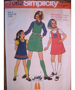 Vintage Simplicity 7062 Girls Size 6 Jiffy Dress and Scarf Sewing Patter... - $7.95