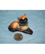 Goebel Minature Siamese Cat Figurine~Blue Eyes/Green Bows - $6.00