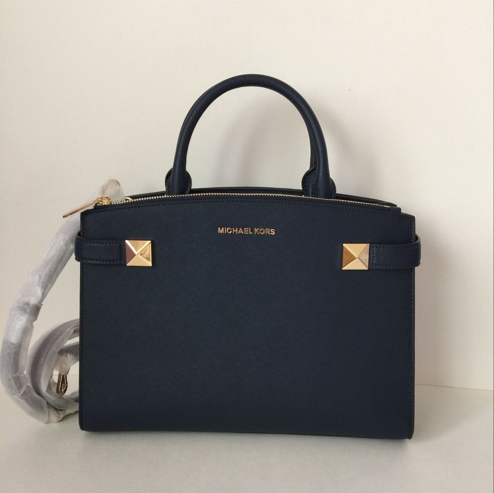 e5968dbe57f9 S l1600. S l1600. Previous. NWT Michael Kors Karla Medium Satchel Handbag  Navy Saffiano Leather $378