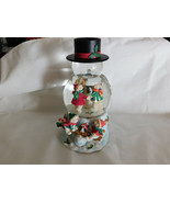 Snowman Snow Water Globe Snow Blowing Function With Sound Sensor 8 Inche... - $10.99