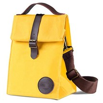 Insulated Waxed Canvas Lunch Bag by ASEBBO, Lunch Box for Women, Men with Genuin - $33.16