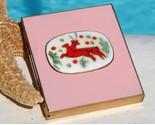 Vintage Picture Frame Compact Enamel Porcelain Christmas Reindeer 50s