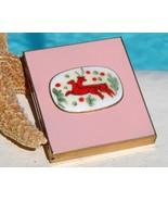 Vintage Picture Frame Compact Enamel Porcelain Christmas Reindeer 50s - $49.95
