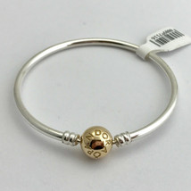 "Pandora Bangle Sterling Silver w/ 14K Gold Clasp Bracelet 6.7"" 590718-17... - $257.44"