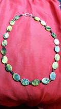 Natural Healing beaded Jasper Necklace Greens,Yellows Boho Reiki Statement  - $17.81