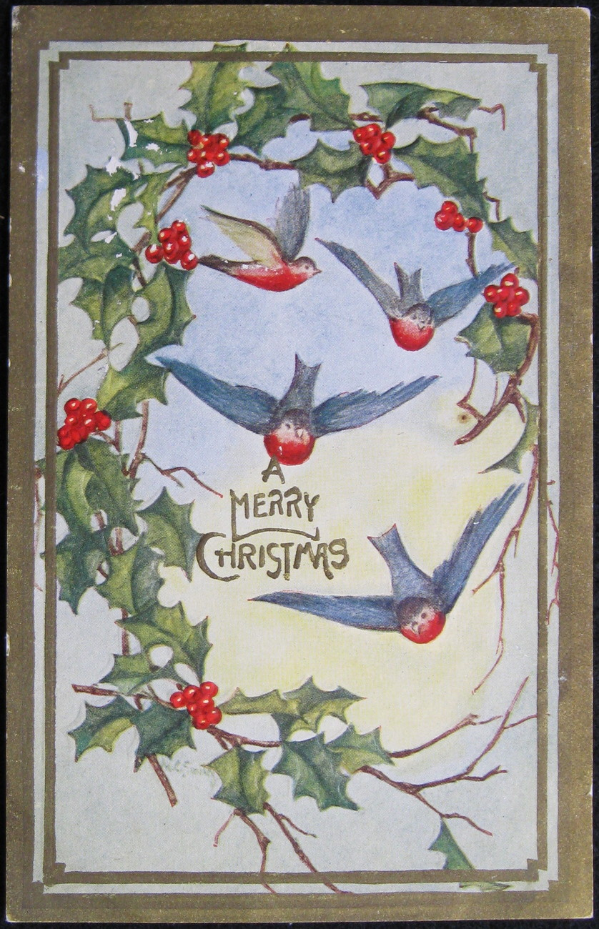 Primary image for Early Divided Back Era, Embossed Postcard, Merry Christmas, Bluebirds, Holly