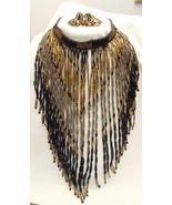 VINTAGE HANDMADE FRINGE BEAD NECKLACE & EARRINGS - $35.00