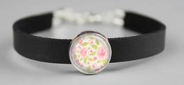 Pink Watercolor Flowers Adjustable Leather Bracelet - $14.95