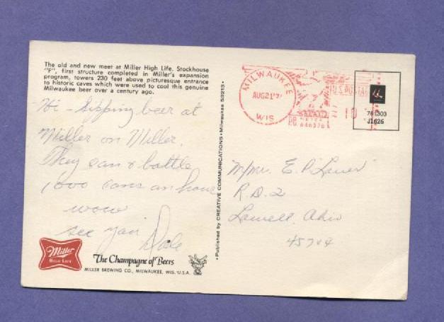 Vintage Postcard Miller High Life Beer Stockhouse Milwaukee WI 1970s
