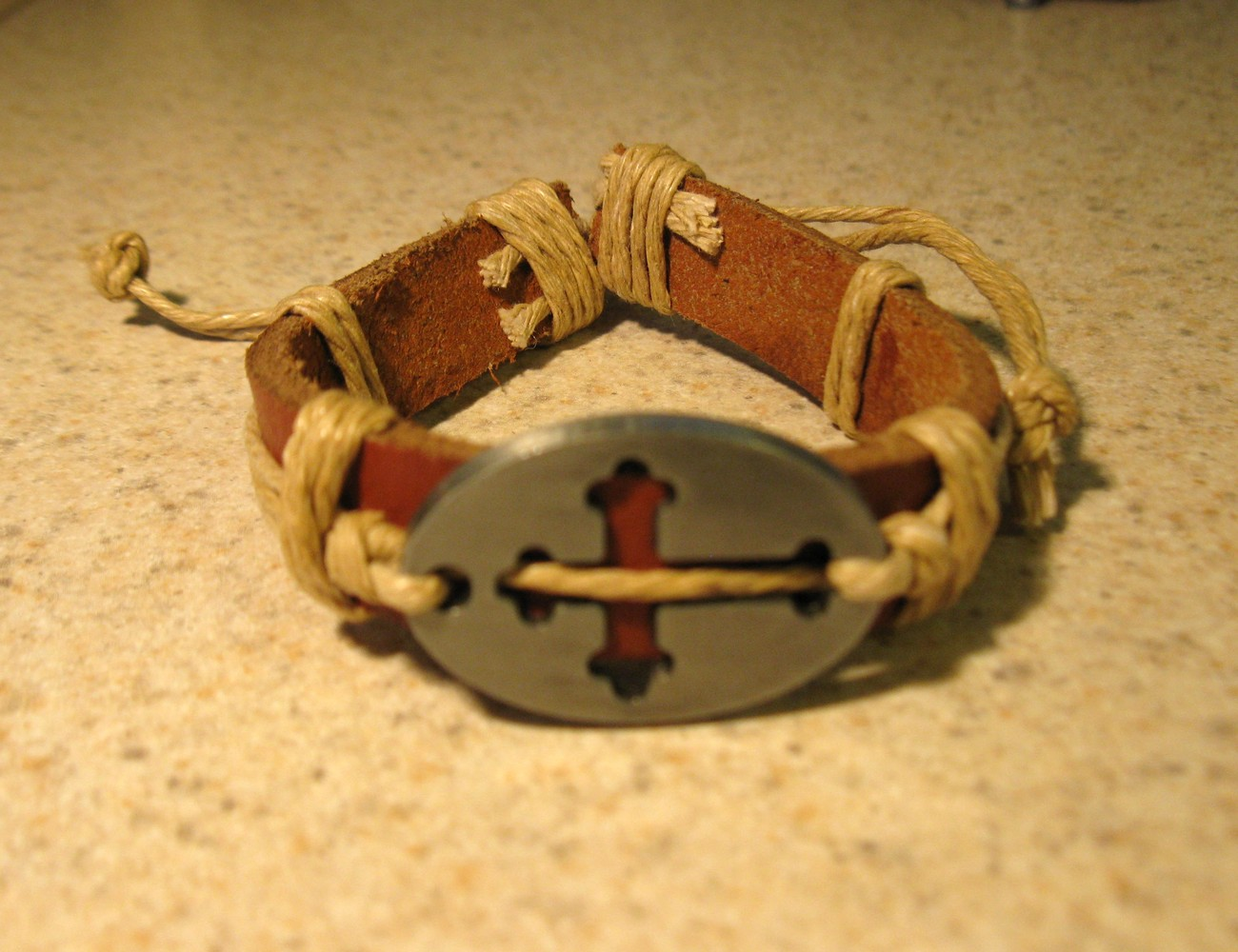 Primary image for BRACELET LEATHER & HEMP CORD PUNK TAN CROSS CHARM #204