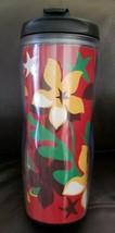 STARBUCKS 2004 flower floral  red green yellow flip top TUMBLER 16 Oz. - $16.14