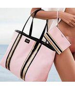 Victoria's Secret Glass Clear Jelly Stripe Tote Shoulder Bag Pink Black ... - $39.99
