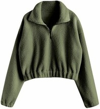 ZAFUL Women's Fashion Long Sleeve Lapel Half Zip Plain Faux Fur Sweatshi... - $69.45+