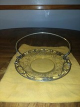 "Antique Victorian Brides Basket Ornate Etched Silver Embossed Plate  6 3/4"" - $46.00"