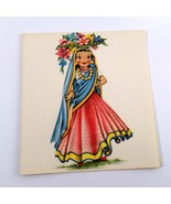 Dolls of Many Lands Card India Vintage Blank Note Card for Collage, Ephe... - $2.50