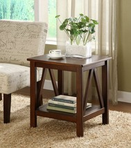 End Table with Storage Antique living Room Parsons Wood Accent Tobacco S... - $128.65