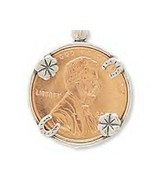 Genuine .925 Sterling Silver Lucky Penny Holder Charm - $14.99