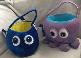 Undersea Plush Purple Octopus & Blue Fish Easter Baskets Bucket Hallowee... - $24.74