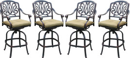 Outdoo bar stools set of 8 Elisabeth cast aluminum patio Desert Bronze image 2