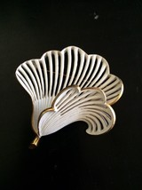 Vintage Signed Monet Layered Flower Brooch Pin Gold Tone White Costume Jewelry - $32.81