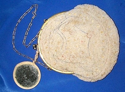 Gorgeous 1920's Purse Covered w/Seed Pearls Chain Handle