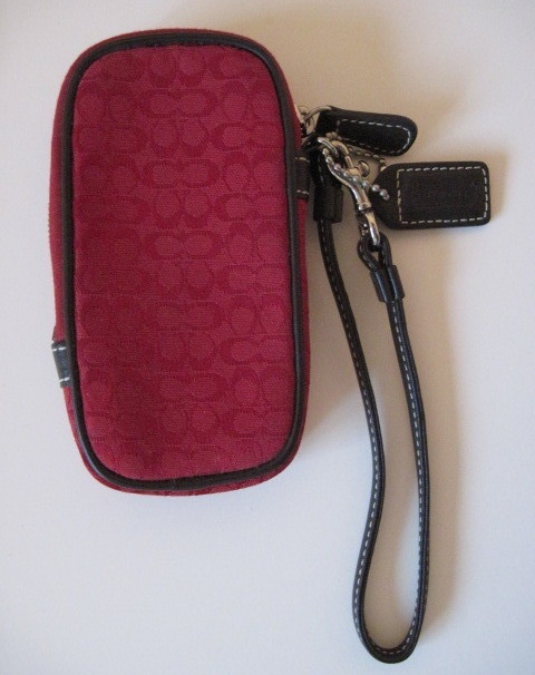 Primary image for Coach Red Signature Brown Leather Cell Phone Case Wristlet